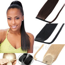 """1 Piece 100% Real Remy Human Hair Wrap Around Ponytail Extensions Lace 16-20"""" SY"""