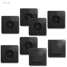 EKONOMIK Kit de démarrage 8 pièces anthracite Flush Interrupteur & Prises
