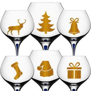 12x Christmas Decal Stickers For Wine Glass, Champagne, Party Decor XMAS Tree