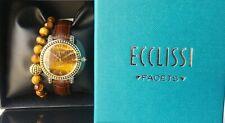 Ecclissi Gemstone Leather Watch w/ Stretch Bracelet Tigers Eye Average
