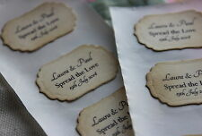 PERSONALISED TEXT Adhesive Labels-Stickers-Jam Jars-Vintage Style-Favour-Wedding