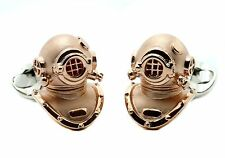 Deakin and Francis Sterling Silver Diving Helmet Cufflinks Rose Gold Plated