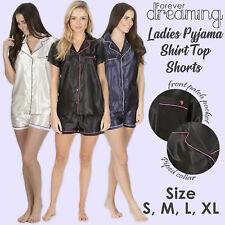 Womens Ladies Satin Pyjama Set Short Sleeved Nightwear Shorts Summer Loungewear