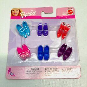 "NRFP 2002 BARBIE 6 Pairs ""HEELS AND WEDGES"" Doll SHOES Blue Purple Mattel #67036"