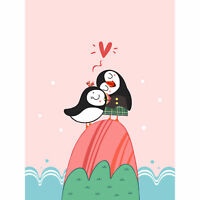 Puffins in Love Large Wall Art Print 18X24 In