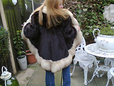 Fur Coat- Rare design/pelt- Black Glamour Mink with Silver Fox Trim.
