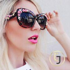 Trendy Designer Cat Eye Pink Flower Women Sunglasses