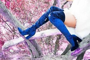 Cape Robbin paw-27 Blue Crushed velvet Royal Blue Fitten Thigh High Boots