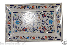 "9""x6"" Wihte Marble Serving Plate Multi Inlay Pietradura Living Room Gifts H1279"