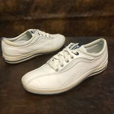 Keds Women's White Leather Tennis Shoes Sz 8.5 Eu39.5 Classic Bicycle Toe EUC