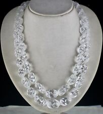 2 LINE 956 CARATS NATURAL ROCK CRYSTAL QUARTZ CARVED OVAL BEADS LADIES NECKLACE