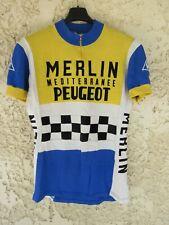 Maillot cycliste MERLIN MEDITERRANEE PEUGEOT damier vintage shirt trikot 70's L
