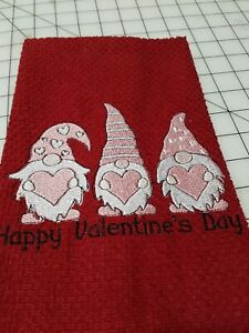 Machine Embroidered Happy Valentine's Day Gnomes Red Dish Towel 100% Cotton