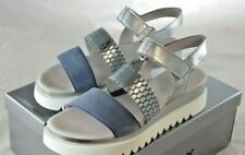 WOW GABOR Damen Sandale Plateausandalette echtes Leder blau-sliber Gr 41 NEU W10