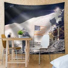 Man on the Moon with the American Flag - Fabric Tapestry, Home Decor - 51x60