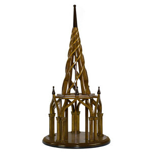 "Nirvana Spire Architectural 3D Wooden Model 21.75"" Spiral Belltower Home Decor"