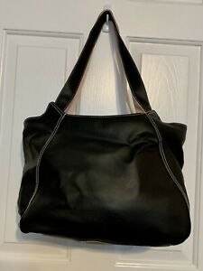 Rare Vintage Mary Kay Leather Carrying Shoulder Tote Bag Purse Black Pink Zip