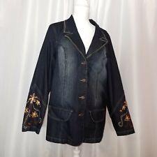 Z Cavaricci Jean Jacket 2X Plus Size Womens Denim Coat Blazer Embroidered