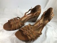 Clarks Artisan Active Air Brown Leather Wedge Sandals Womens 8 M Open Toe Shoes