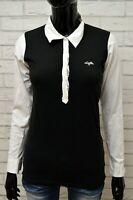 Maglia Donna LOTTO Maglietta Taglia S Polo Shirt Manica Lunga Cotone Bianco Nero