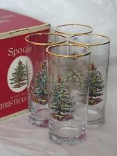 Lot de 4 spode christmas tree noël whisky soda lunettes avec gold rim new & boxed