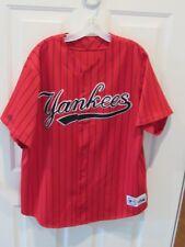 NEW YORK YANKEES NY MAJESTIC Baseball Jersey men's Sz XL sewn MLB RED pinstripe