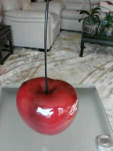 """Very Large Decorative Acrylic Red Cherry with Removable Stem Over 8"""" tall"""
