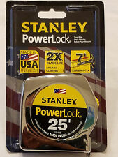 "Stanley 25' x 1"" PowerLock Tape Rule Measurer Silver 7' Standout Tru-Zero Hook"