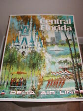 DELTA AIRLINES POSTER  TO CENTRAL FLORIDA  ORIGINAL LAYCOX