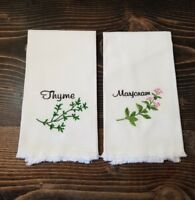 Embroidered Kitchen Hand Towels Herbs Marjoram Thyme Set Of 2