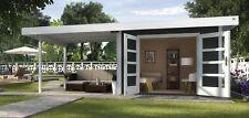 Weka Gartenhaus Design 126 B Gr.3 anthrazit mit Doppeltür und Anbau 590x300 cm