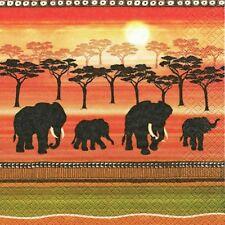 4 x Single Paper Table Napkin/Decoupage/Scrapbooking/Africa/Elephants at Sunset
