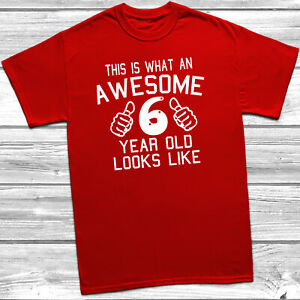 Awesome 6 Year Old Looks Like T-Shirt 6th Birthday Gift For 6 Year Old Girl Boy