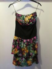 LADIES COLOURFUL BLACK FLORAL DRESS SMALL SIZE BY KRAZY