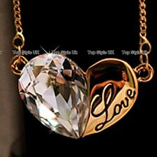 Love Gold Engraved Heart Necklace Crystal Pendant Jewellery Gifts for Women E5
