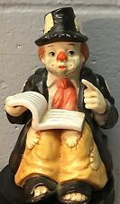 "VINTAGE SUN SAINT ""CLOWN READING A BOOK"" WIND-UP MUSIC BOX Plays Music"