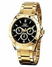 Mens Gold Watch Chunky Metal Band Large Black Dial Reloj de Oro Dorado Hombres