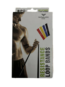 💪🏽VITALITY FORCE 4 PACK Looped Resistance Bands Home Gym Training Fitness