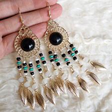 Vintage Womens BOHO Gold-Tone Leaves BLACK Big Beads Dangle Hook Earrings #1466