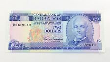 1973 Central Bank Of Barbados Two 2 Dollars H2 Series Uncirculated Banknote I087