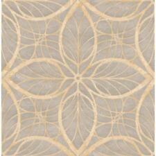 Wallpaper Designer Reflective Gray and Tan Leaf Geometric Lattice