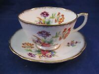 "SMALL DELICATE ROSLYN TEA CUP AND SAUCER - ""MINUET"" ENGLAND - ANTIQUE"