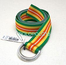 New $75 Polo Ralph Lauren Silver D Ring Grosgrain Belt S M