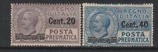 FRANCOBOLLI - 1925 REGNO POSTA PNEUMATICA C.20 SU 15+C.40 SU 30 MNH Z/8442