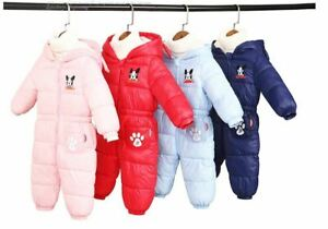 Snow Proof Baby Snow Suit Infant Winter Quilted Puppy Dog Snowsuit Size 0 & 1