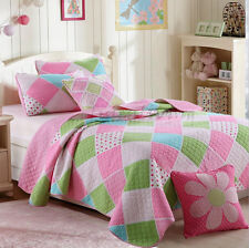 Reversible Quilted Cotton Patchwork Coverlet Bedspread 2pc Set Single MPK005