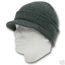 GREY CHARCOAL VISOR BEANIE KNIT JEEP CAP SKULL CAPS HAT