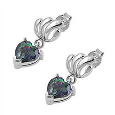 Silver Earrings with Cubic Zirconia Rainbow Topaz CZ Face height 20 mm (0.80 inc
