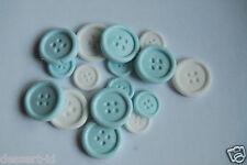 40 BLUE &  WHITE edible sugar paste BUTTON buttons cupcake  topper  two sizes