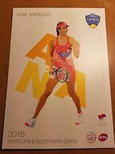 ANA IVANOVIC 5X7 2016 WESTERN & SOUTHERN ATP TENNIS TOURNAMENT COLLECTOR CARD
